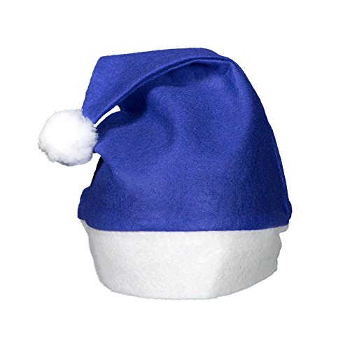 (12 Pack) Blue Felt Christmas Santa Hats