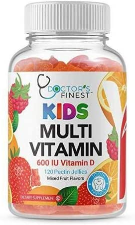 Doctors Finest Multivitamin Gummies for Kids – w/ Zinc, Vitamins A, B, C, D & E, Vegetarian, GMO-Free & Gluten Free – Tooth Friendly – Great Tasting Fruit Flavors Pectin Chews – 120 Jellies [60 Doses]