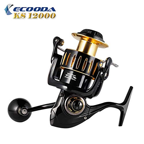 Cheap 2018 ECOODA Knight Heavy Duty Metal Spinning Jigging Fishing Reels Saltwater Waterproof Body Boat Trolling Fishing Reel KS12000