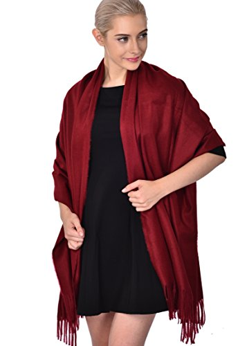 Ideal Gift for Women Cashmere Feel Large Blanket Scarf Winter Evening Wrap Wine Red (Gift Box)