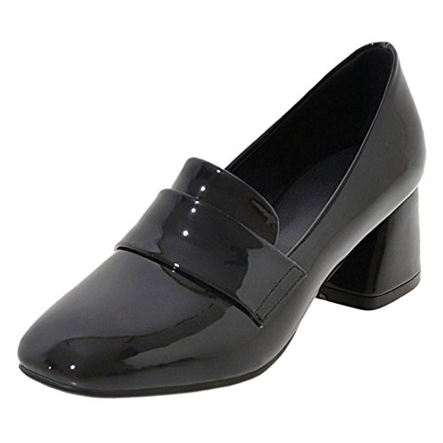 TAOFFEN Women's Block Heel Court Shoes Black miZWanxvy9