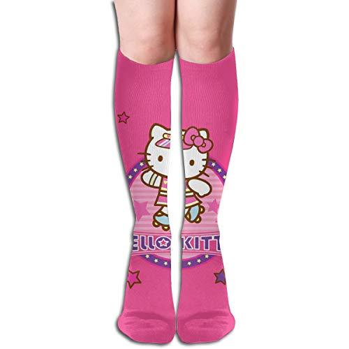 JINUNNU Knee High Tube Socks Pink Hello Kitty Funny Dress Socks for Girl Women