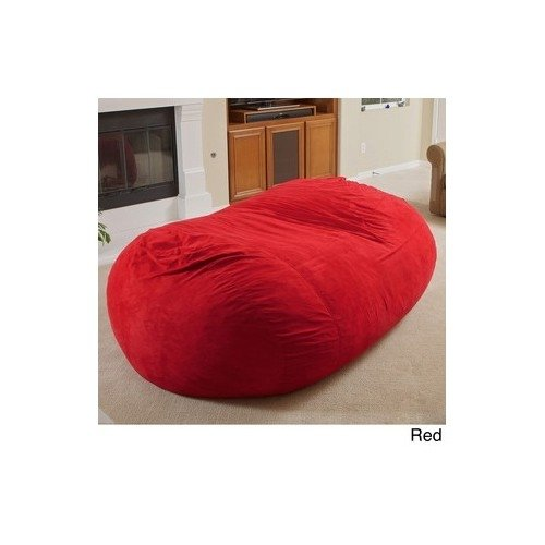 Suede Faux Lounger Bean Bag - Christopher Knight Larson Faux Micro-fiber Suede 8 Foot Cozy Comfortable Large Lounger Bean Bag (Red)