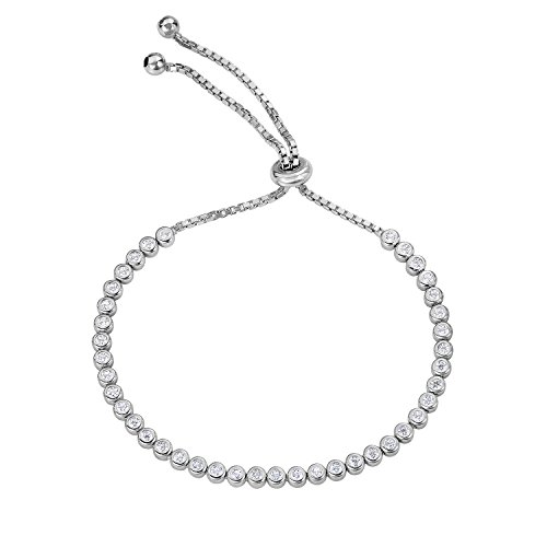 Ladylike Elegance Sterling Silver Bezel Set Cubic Zirconia Tennis Adjustable Bracelet by Tilo Jewelry - Elegance Tennis Bracelets
