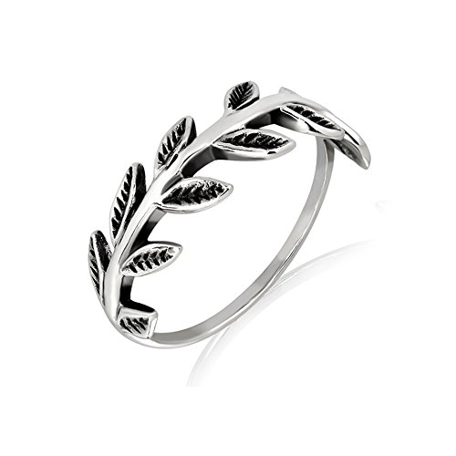 Oxidized Sterling Silver Olive Branch Vine Leaves Pattern Band Nature Inspired Ring, Size - Nature Vines