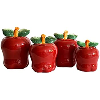 set of 4 apple shaped ceramic canisters country