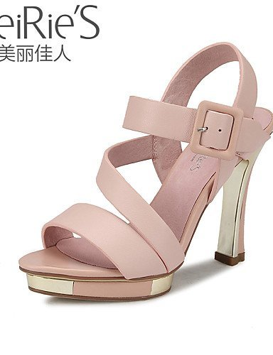 Casual Heels White Shoes Green Pink Sheepskin Women's amp; Toe ShangYi Heel Open Sandals Office Career Stiletto White a7Xw65Wq