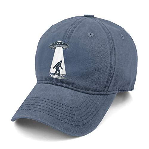 - Unisex UFO Bigfoot Denim Hat Adjustable Washed Dyed Cotton Dad Baseball Caps