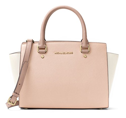 Michael Kors Women's Selma Medium Top Zip Satchel (Soft Pink/Light Cream/Fawn) (Large Leather Soft Satchel)