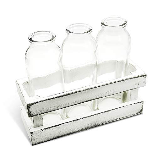 Funsoba Small Glass Vases in Wood Rack Stand Window-Sill Display Set of 3 Crystal Clear Flower Vase Farmhouse Home Decoration (White 3 ()