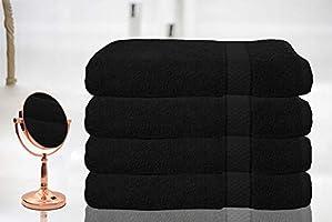 Casabella - Juego de 4 toallas de baño grandes de algodón egipcio peinado, tamaño grande., 100% algodón, negro, 4 ...