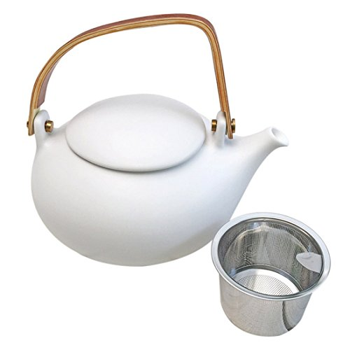 ZENS Camel White Japanese Chinese Restaurant Porcelain Teapot with Infuser Strainer Ceramic for Loose Tea Blooming Flower