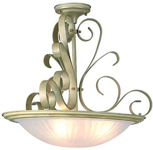 Lite Source LS-1052PEARL Variance Semi-Flush Lamp, Unique Metal Work Pearl