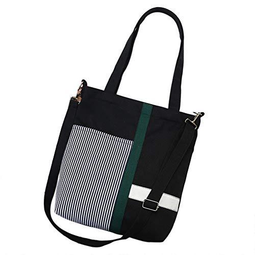 (Belsmi Womens Ladies Girls Heavy Lightweight Cotton Polyester Zipper Shoulder Bag Shopping Retro Casual Handbags Canvas Totes Bag (3 Black))