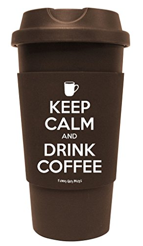 Funny Guy Mugs Keep Calm And Drink Coffee Travel Tumbler With Removable Insulated Silicone Sleeve, Brown, 16-Ounce