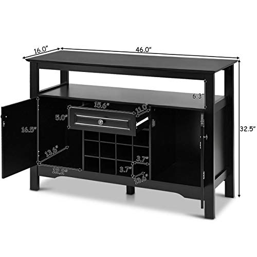 (Patio & Garden Furniture) Black Storage Buffet Sever Cabinet Sideboard Table Wood Wine Rack Kitchen Dining (Sideboard Patio Table)
