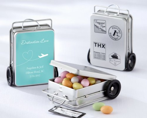 Miles of Memories Suitcase Favor Tins with Optional Labels (Set of 12) - 16 Sets in Total