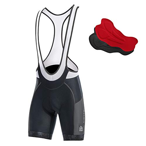 (Santic Cycling Bib Shorts Men Pro Gel Padded Bike Pants with Color-Blocking)