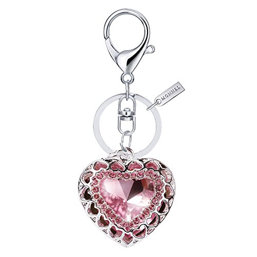 Pink Heart Key (Bling Pink Crystal Heart Love Design Keychain Key Ring with Pouch Bag MZ802-1)