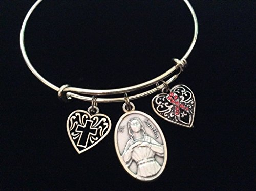 Saint Agatha Patron of Breast Cancer Silver Expandable Charm Bracelet Cross Awareness Pink Ribbon Adjustable Bangle Gift Inspirational Meaningful