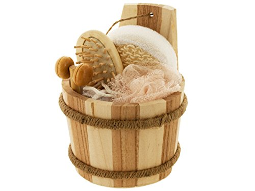 (bulk buys Bath Set In Wood Barrel)