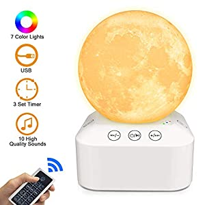 White Noise Machine,Sleep Sound Machines with Dimmable 7 Color Changing Moon Night Light Lamp 3D Printing,Relaxing Music Nature Sounds Therapy, Aids Sleeping,Stress Anxiety Relief Portable Sleep Timer