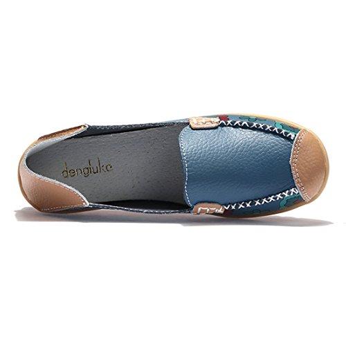 Z.SUO Mujer Mocasines de cuero Moda Loafers Casual Zapatos de conducción Zapatillas Azul.1