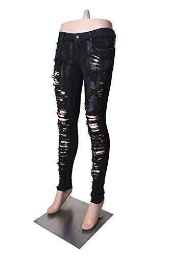DEVIL SHACKLES Donne Pantalone in lana con lavaggio a bocca, pantaloni neri gotici, 2 taglie
