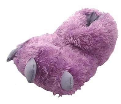 Monster Feet Little Girl's Furry Slippers Purple 11-12