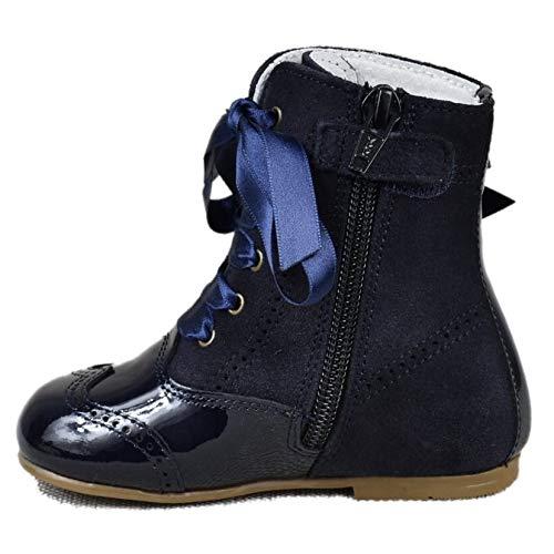 Bota Pascuala Niña combinada en Piel Charol Azul y Lazo Lateral 4399 (29): Amazon.es: Zapatos y complementos