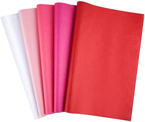 CHRORINE 48 Sheets Wrapping Paper Sheet Red and Pink Tissue Paper Sheets for Valentine's Day Party Crafts Decor Accessories