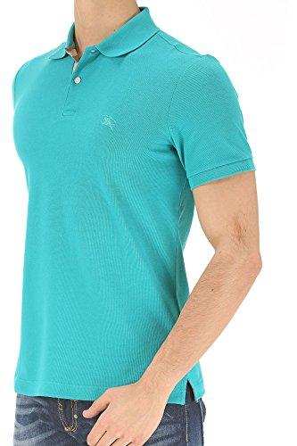 Burberry Brit Men's Cyan Turquoise Blue Check Cotton Pique Logo Slim Fit Polo T-shirt (L)