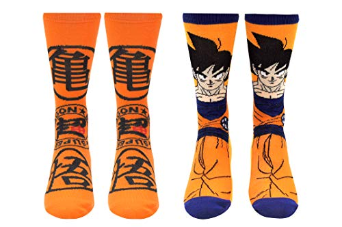 Dragon Ball Z Super Socks Gifts (2 Pair) - (1 Size) Dragon Ball Super Anime Master Roshi's Kanji Goku Crew Socks Women & Men's