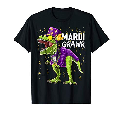Mardi Grawr T Rex Dinosaur Mardi Gras Bead Costume Shirt