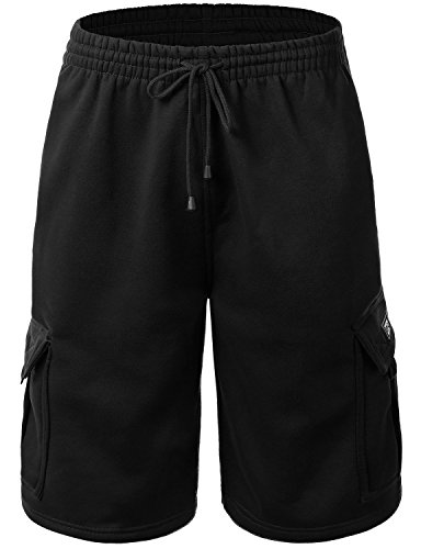 - Men's Cargo Sweat Shorts Elastic Drawstring Casual Loose Fit Fleece (Large, 1RD0002-Black)