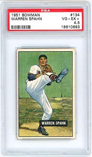 1951 Bowman Warren Spahn #134. VG-EX+ 4.5 - PSA/DNA Certified - Baseball Slabbed Vintage Cards