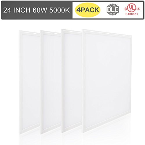 [4 Pack] T-SUN 2x2Ft 60W/5000K 6500LM UL/DLC Ultra Thin Dimmable LED Ceiling Panel Light Fixtures for Home, Office, Showroom, Hotel, Supermarket (Daylight White)(US Stock)