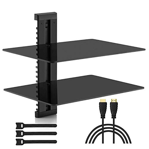PERLESMITH Floating AV Shelf Double Wall Mount Shelf - Holds up to 16.5lbs - DVD DVR Component Shelf with Strengthened Tempered Glass - Perfect for PS4, Xbox, TV Box and - Component Wall Mount