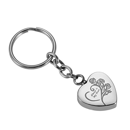 (HOUSWEETY Engraved Flower & Always in My Heart Ash Holder Memorial Jewelry Stainless Steel Cremation Keychain)