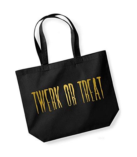 a or slogan tracolla Twerk Treat Borsa Black tela di in gold Kelham unisex cotone stampa dY5nBaq