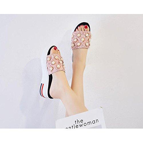 Xy Flip color Black Libre Verano Flop Cool 5 5 La Moda De Chancletas Aire Tamaño Pink Elegantes uk4 Del cn37 Perla Femenina Eu37 Al fzPSfrZ7