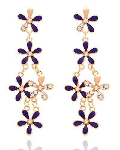 Crunchy Fashion Bollywood Style Indian Jewelry Purple Floral Gold Tone Drop Dangle Earrings for Women Gold Tone Floral Hoop