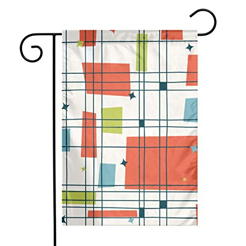 QUZtww Abstract Mid Century Modern Grid Polyester Garden Flag Durable Festive Seasonal Holiday Easter Decorative Banner for Garden Size 12 * 18 -
