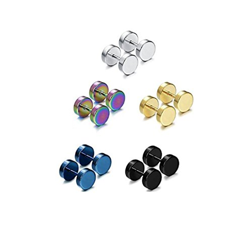 5 Pairs Stainless Steel Mens Womens Stud Earrings Set Faux Gauges Ear Piercing Plugs Tunnel,7mm-12mm -5C7MM