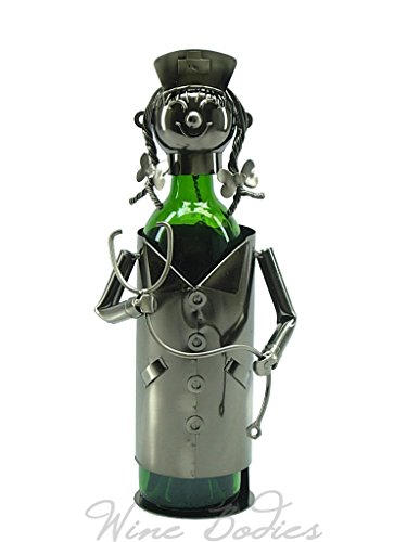 WINE BODIES ZB800 Nice Nurse Metal Wine Bottle Holder, Charcoal For Sale