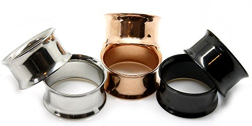All 3 Pairs of Steel Eyelet Tunnels Ear Plugs Gauges,silver-rose Gold & Black (22mm 7/8 inch)