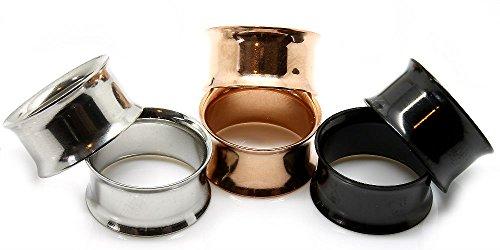 All 3 Pairs of Steel Eyelet Tunnels Ear Plugs Gauges,silver-rose Gold & Black (8mm-0 gauge)