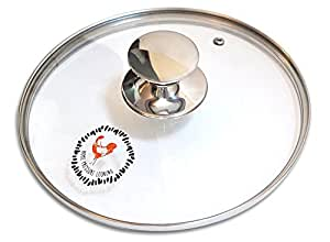 Tempered Glass Lid for Pressure Cooker or 9 inch Pot (23 CM) - Replacement Lid with Stainless Steel Rim - Fits Most 6 Quart Pressure Cookers