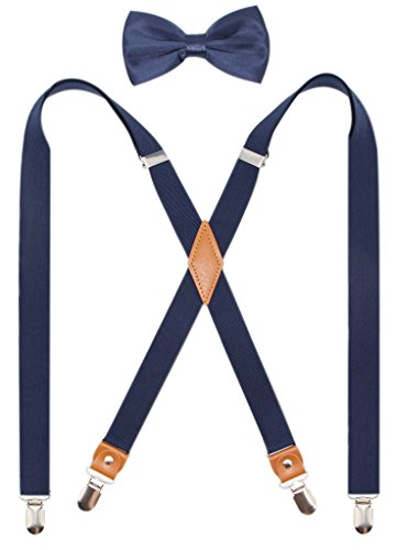 (Timiot Mens Suspender and Bowtie Set X Back Heavy Duty Adjustable Elastic Clips Perfect For Work &Casual)