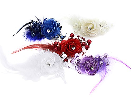 BONAMART 5 pcs Woman Lady Girl Brooch Corsage Hair Clips Barrettes Accessories Rose Flower For Wedding Party
